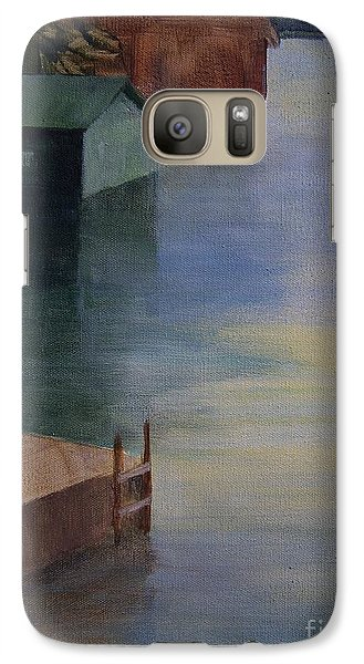 Galaxy Case featuring the painting Boathouses by Mary Lynne Powers