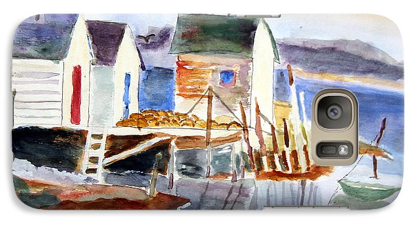 Galaxy Case featuring the painting Boathouses On The Wharf by Michael Helfen