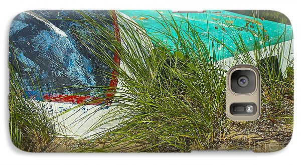 Galaxy Case featuring the photograph Boats And Beachgrass by Amazing Jules