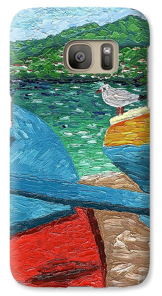 Galaxy Case featuring the painting Boats And Bird At Rest by Laura Forde
