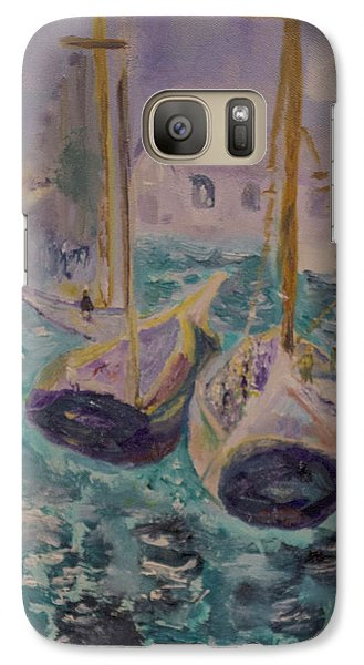 Galaxy Case featuring the painting Boats At Sea by Aleezah Selinger