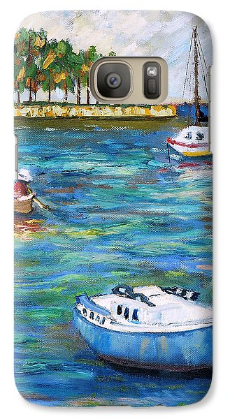 Galaxy Case featuring the painting Boats At St Petersburg by Michael Daniels