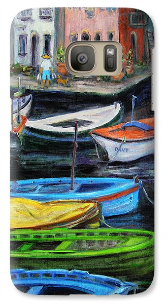 Galaxy Case featuring the painting Boats In Front Of The Buildings II by Xueling Zou