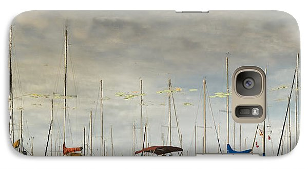 Galaxy Case featuring the photograph Boats In Harbor Reflection by Peter v Quenter