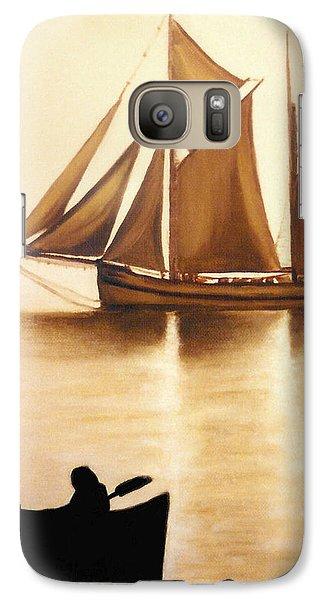 Galaxy Case featuring the painting Boats In Sun Light by Janice Dunbar