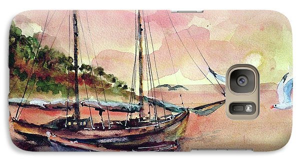 Galaxy Case featuring the painting Boats In Sunset  by Faruk Koksal