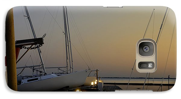 Galaxy Case featuring the photograph Boats Moored To Pier At Sunset by Charles Beeler