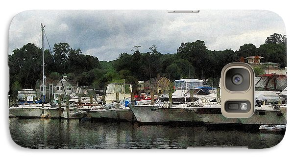Galaxy Case featuring the photograph Boats On A Cloudy Day Essex Ct by Susan Savad