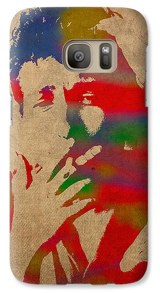 Bob Dylan Watercolor Portrait On Worn Distressed Canvas Galaxy Case by Design Turnpike