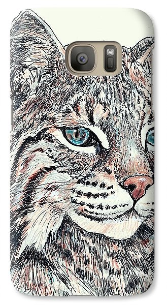 Galaxy Case featuring the drawing Bobcat Portrait by VLee Watson