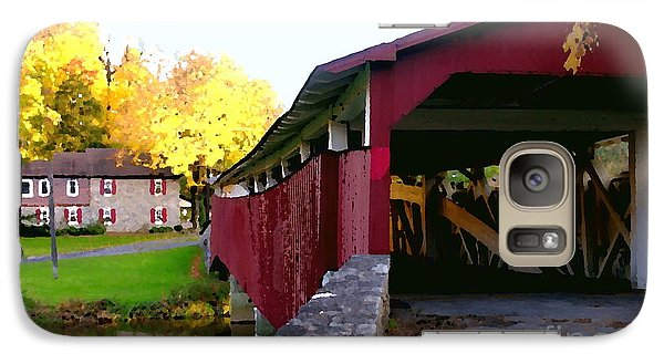 Galaxy Case featuring the photograph Bogerts Covered Bridge Allentown Pa by Jacqueline M Lewis