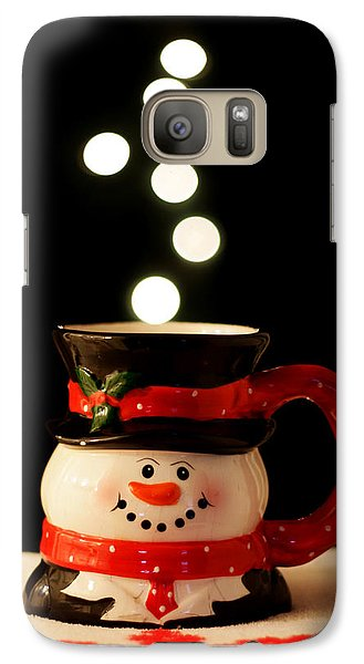 Galaxy Case featuring the photograph Bokeh Fun With Snowman Mug by Barbara West
