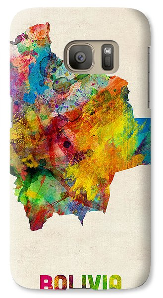 Bolivia Watercolor Map Galaxy Case by Michael Tompsett