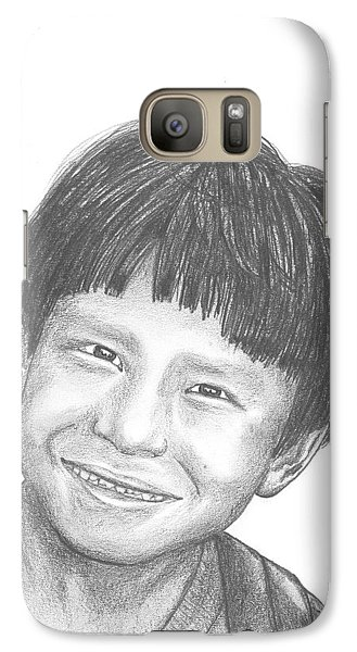 Galaxy Case featuring the drawing Bolivian Jungle Child by Lew Davis