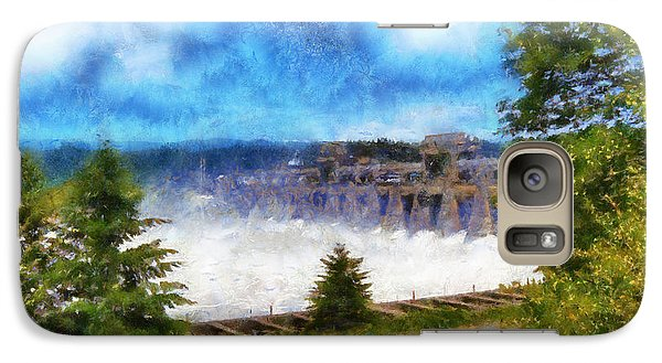 Galaxy Case featuring the digital art Bonneville Dam Floodgates Open by Kaylee Mason