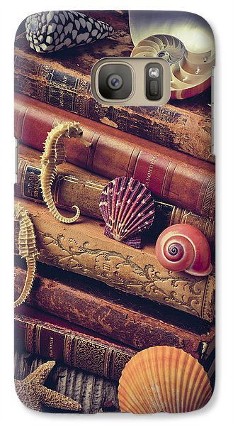 Books And Sea Shells Galaxy Case by Garry Gay