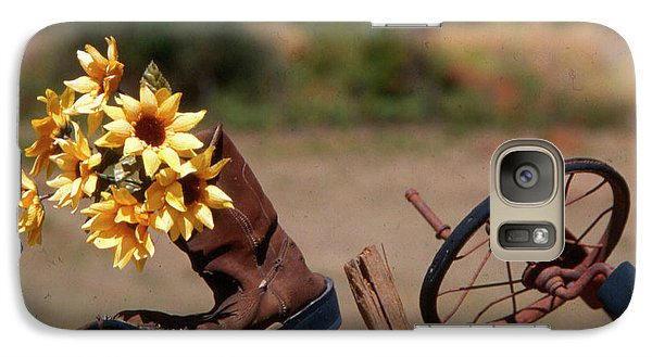 Galaxy Case featuring the photograph Boot With Flowers by Ron Roberts