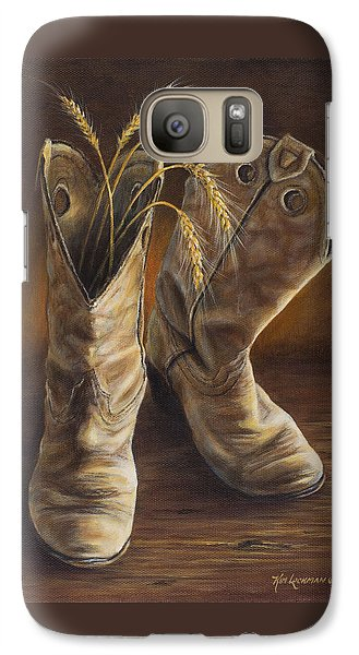 Galaxy Case featuring the painting Boots And Wheat by Kim Lockman