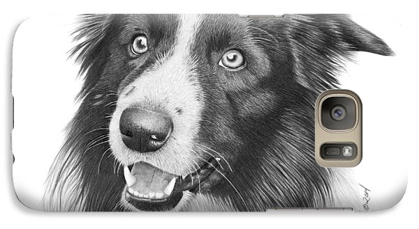 Galaxy Case featuring the drawing Border Collie -030 by Abbey Noelle