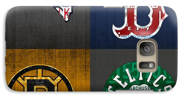 Boston Sports Fan Recycled Vintage Massachusetts License Plate Art Patriots Red Sox Bruins Celtics Galaxy S7 Case by Design Turnpike