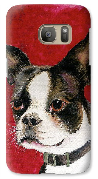 Galaxy Case featuring the painting Boston Terrier Dog by Nan Wright