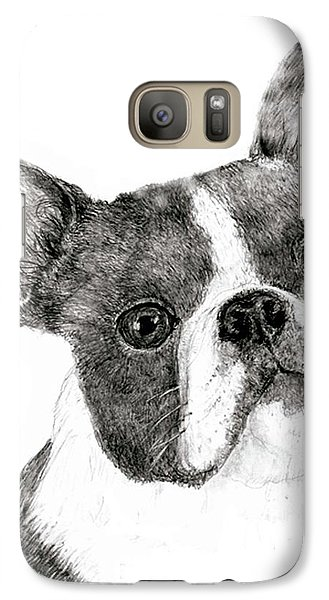 Galaxy Case featuring the drawing Boston Terrier by Jim Hubbard