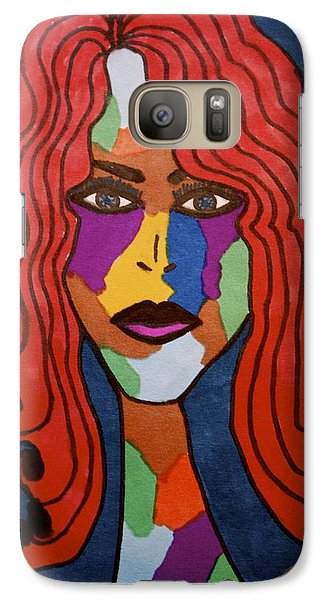 Galaxy Case featuring the drawing Bottlenecked Red by Chrissy  Pena