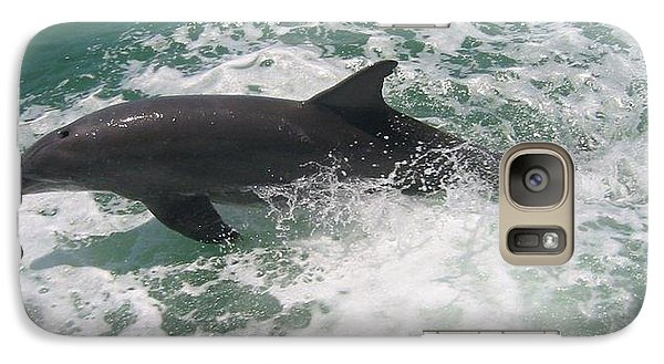 Galaxy Case featuring the photograph Bottlenose Dolphin Catching A Wave by Jean Marie Maggi