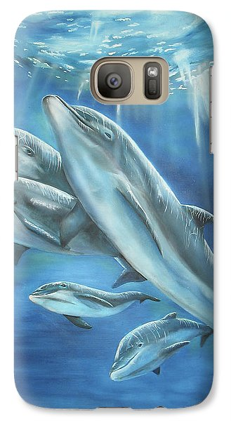 Galaxy Case featuring the painting Bottlenose Dolphins by Thomas J Herring