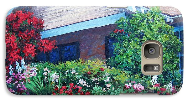 Galaxy Case featuring the painting Bougainvillea House by Cheryl Del Toro