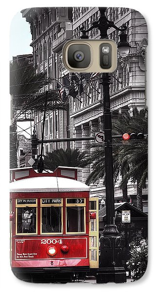 Galaxy Case featuring the photograph Bourbon And Canal Trolley Cropped by Tammy Wetzel
