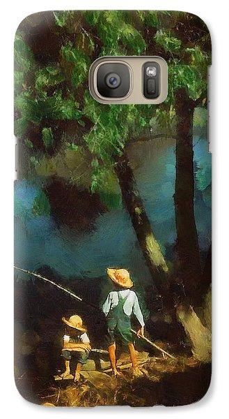 Galaxy Case featuring the digital art Boys Fishing In A Bayou by Kai Saarto