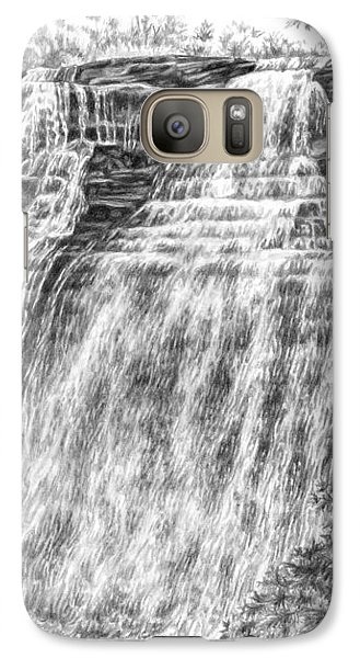 Galaxy Case featuring the drawing Brandywine Falls - Cuyahoga Valley National Park by Kelli Swan