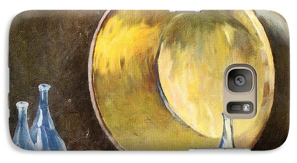 Galaxy Case featuring the digital art Brass Kettle With Blue Bottles After Carlsen by Lianne Schneider