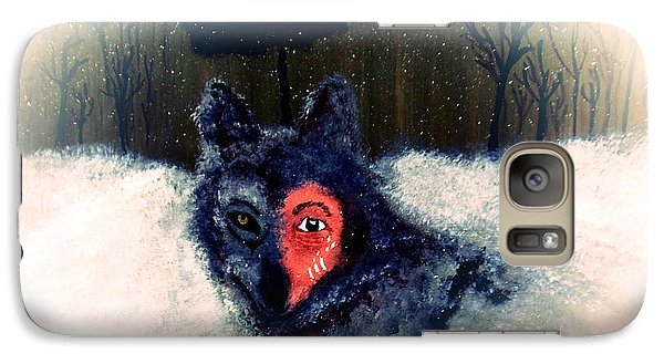 Galaxy Case featuring the painting Bravewolf 2 by Ayasha Loya