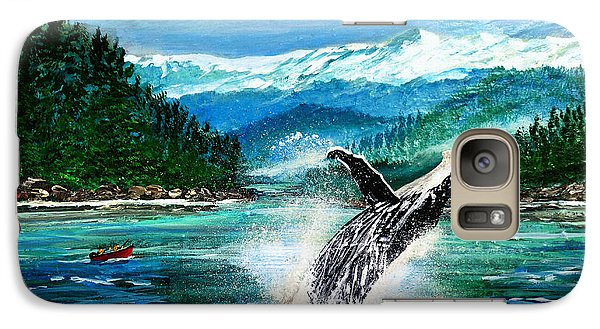 Galaxy Case featuring the painting Breaching Humpback Whale by Patricia L Davidson
