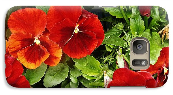 Galaxy Case featuring the photograph Brick Pansies by VLee Watson