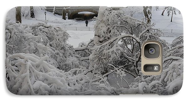 Galaxy Case featuring the photograph Bridge And Snow Covered Trees by Winifred Butler
