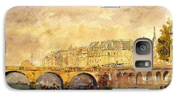 Bridge Over The Seine Paris. Galaxy S7 Case by Juan  Bosco