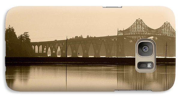 Galaxy Case featuring the photograph Bridge Reflection In Sepia by Katie Wing Vigil