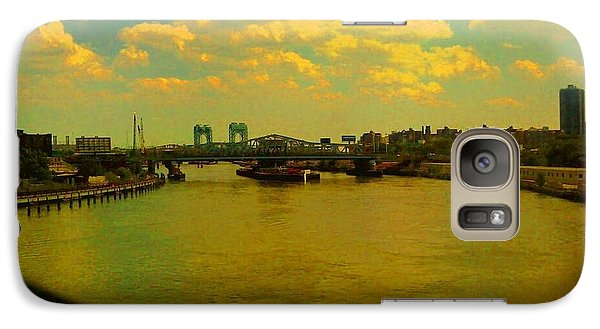 Galaxy Case featuring the photograph Bridge With Puffy Clouds by Miriam Danar