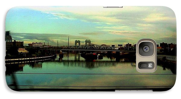 Galaxy Case featuring the photograph Bridge With White Clouds by Miriam Danar