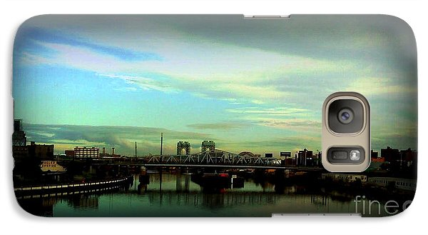 Galaxy Case featuring the photograph Bridge With White Clouds Vignette by Miriam Danar