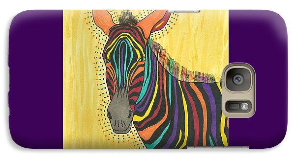 Galaxy Case featuring the painting Bright Lite African Zebra  by Susie Weber