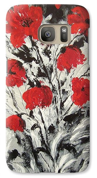 Galaxy Case featuring the painting Bright Red Poppies by Renate Voigt