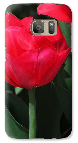 Galaxy Case featuring the photograph Bright Red Tulip by Bill Woodstock