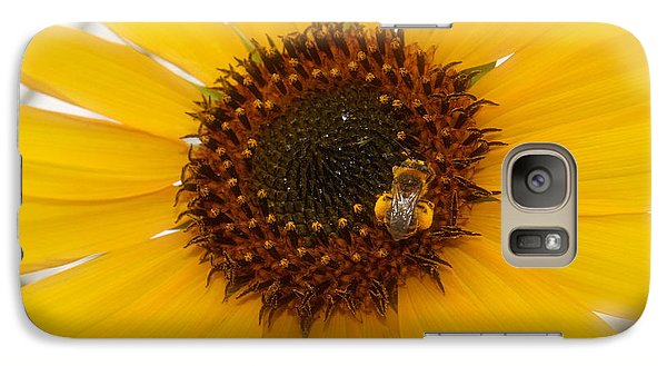 Galaxy Case featuring the photograph Vibrant Bright Yellow Sunflower With Honey Bee  by Jerry Cowart