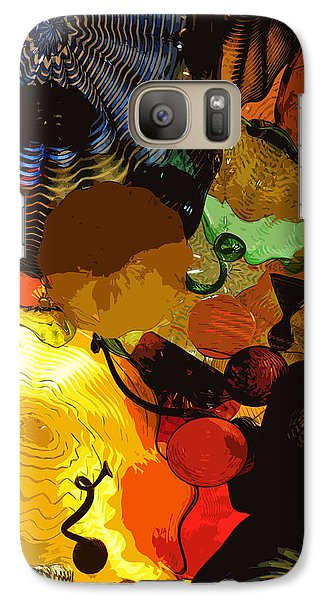 Galaxy Case featuring the digital art Bright Yellow Dark Blue by Kirt Tisdale