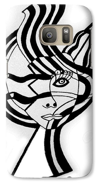 Galaxy Case featuring the drawing Broken Face With Design by Christine Perry