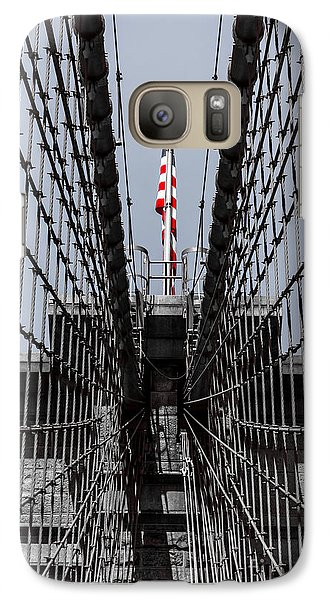 Galaxy Case featuring the photograph Brooklyn Bridge American Flag by Rafael Quirindongo